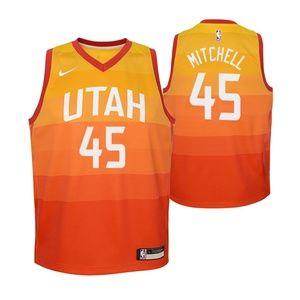 Youth Utah Jazz 45 Donovan Mitchell Jersey orange